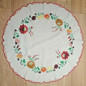 Big Round Rare Vintage Hungarian Folkmotives Tablecloth Embroidery Free Shipping