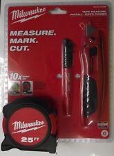 Milwaukee 48-22-5525M 3 Piece 25ft Tape Measure-Knife-Marker Combo