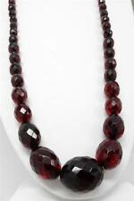 "Vtg Art Deco Faceted Cherry Amber Bakelite Graduated Bead 30"" Necklace 60 grams"