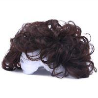 100% Human Hair Curly Topper Toupee Hairpiece Top Wigs Men Women
