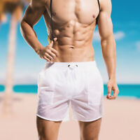 Men Summer Translucent Lining boxer shorts Casual Beach Surf Sports Swim Trunks