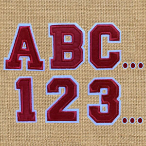 1pc Letter Number Red Embroidered Cloth Iron On Patch Appliqué Alphabet #1670
