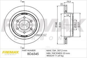 Disc Brake Rotor Rear Fremax BD6545 fits 2012 Ford F-150