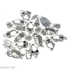 10PCs BD Dull Silver Tone Mixed Owl Shape Pendants Fashion Charm Jewelry