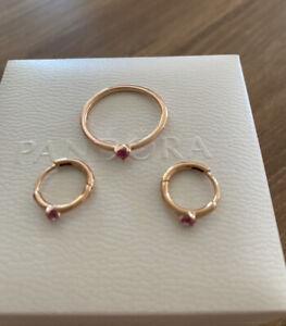 Original Pandora Rosé Ohrringe Creolen und Ring
