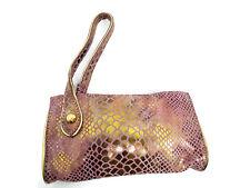 SABINA New York Wristlet Clutch Iridescent Metallic Gold Snake Pattern on Pink