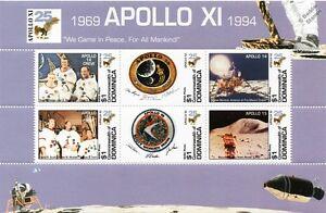 APOLLO XI / Moon Landings Apollo 14 & 15 Crew Space Stamp Sheet (1994 Dominica)