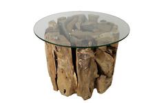 Couchtisch - Wurzeltisch  aus Massivholz mit Glasplatte