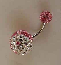 Yin Yang Diseño [Rosa Circonia Cúbica & Plata Esterlina] Bola Piercing Vientre Bar