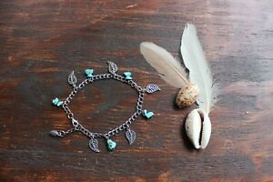 Pretty Handmade Silver Double Chain, Turquoise Stone & Leaf Feather Charm Anklet