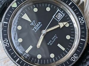 Vintage Yema Superman 30 ATM Diver w/Mint Dial,Warm Patina,All SS Case,Serviced