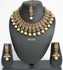 Indian Fashion Jewelry Bridal Wedding Kundan Crystal Necklace Earring Set OJ 215