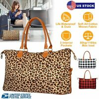 "23.6"" Women Weekender Bags Canvas Leather Duffle Bag Travel Tote Bag US Stock"