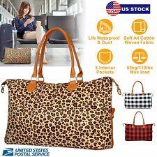 "23.6"" Women Weekender Bags Canvas Leather Duffle Bag Travel Tote Bag US Stock"