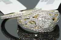 10K YELLOW GOLD 1.25 CARAT WOMENS REAL DIAMOND ENGAGEMENT RING WEDDING BAND SET
