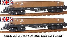NEW, 2, A PAIR G SCALE 45mm GAUGE FLAT BED TRUCK BROWN FREIGHT GARDEN TRAIN