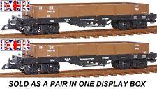 NUEVO, 2 , un par G escala 45mm PLANO Cama Camión Marrón freight Garden TREN