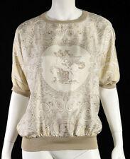 HERMES Vintage White & Beige Pegasus Print Silk Knit Trim Blouse L