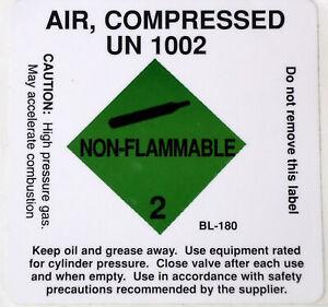 Compressed Air Tank Sticker label Scuba Diving Decal UN 1002 DS10
