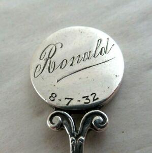 """RONALD"" Solid Silver  CHRISTENING SPOON  Hallmarked:- BIRMINGHAM 1931"