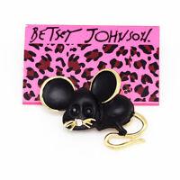 Betsey Johnson Black Enamel Crystal Cute Little Mouse Charm Brooch Pin Gift