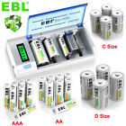 AA AAA C D Cell Rechargeable Batteries NI-MH 1.2V 5000mAh 10000mAh / Charger Lot