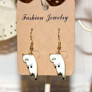 Cute white cat enamel gold earrings