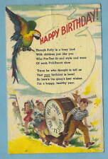Vtg 1947 LINEN Advertising HAPPY BIRTHDAY Postcard POLL-PARROT Children's Shoes