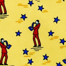 100% REAL HERMES TIE ~ YELLOW w JAZZ SAXOPHONE PLAYER IN RED SUIT w BLUE STARS