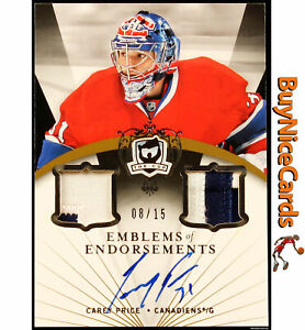 2007-08 Carey Price UD Exquisite Emblems of Endorsements RC Rookie Patch /15