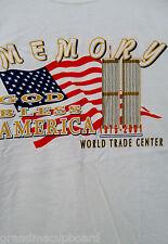 VINTAGE 1975-2001 WORLD TRADE CENTER MEMORY GOD BLESS AMERICA T-SHIRT USA FLAG