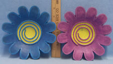 Set 2 Purple & Blue Resin Flower Floral Figurines Wall Hangings Girls Room Decor