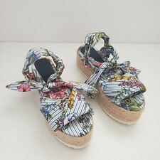 ZARA RAFFIA Tied Floral Womens Wedge Sandals, SZ 5/35  Pre-owned