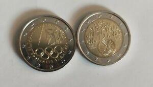 LOT 2 PIECES 2 EURO € UNC PORTUGAL 2020 75 ANS ONU, 2021 JEUX OLYMPIQUES TOKYO