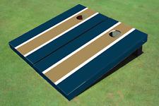 Dark Gold And Navy Matching Long Stripe Custom Cornhole Board