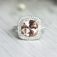 4Ct Cushion Cut Morganite Diamond Dual Halo Engagement Ring 14K White Gold Over