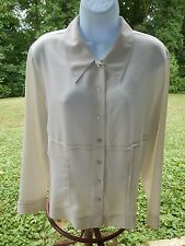 SB Collection Solid Ivory Embellished Button Down L/S Poly Career Blouse Sz 8