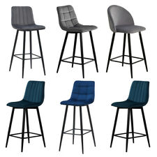 More details for 2 velvet fabric bar stools counter stool high chairs fixed metal legs grey blue
