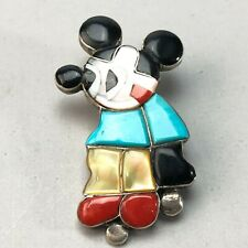 Vintage Mary Poncho Zuni multi stone inlay Mickey brooch 10.2g