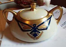 Antique Heinrich & Co Selb Bavaria Sugar Bowl Gold Gilt Signed Numbered
