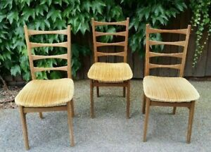3 Chairs Kitchen Chairs Dining Room Chairs Wohnzimmerstühle Braun Yellow Padded
