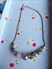 SHADES OF SILVER / PINK 18 INCH FAUX PEARL & GEMSTONE  NECKLACE 76-40
