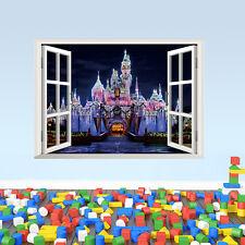 Removable Kids Bedroom 3D Princess Castle Window Stickers Wallpaper Decal Decor