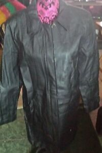 JACQUELINE FERRAR WOMAN'S SIZE M SOLID BLACK  GENUINE LEATHER TRENCH COAT