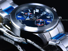 """New Invicta Men 48mm """"Red Track"""" Japan Chronograph Blue Dial Tachymeter SS Watch"""