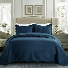 Quilted Bedspread + Pillowcases Navy Blue Satin Embossed Reversible Bedding Set