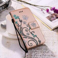 Womens Flip Wallet Case Gel Holder Flower Bow Print Leather Ladies Phone Cover