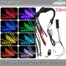 12pcs Motorcycle LED Neon Under Glow Lights Strip Kit For Harley Davidson 72LEDs