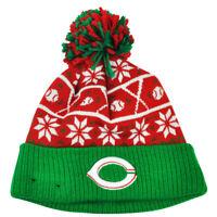 MLB New Era Sweater Chill Cincinnati Reds Pom Pom Cuffed Knit Beanie Winter Hat