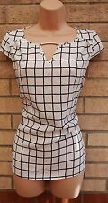 PRIMARK WHITE BLACK CHECKED CUT OUT FRONT SILKY FORMAL BLOUSE TUNIC TOP 10 S